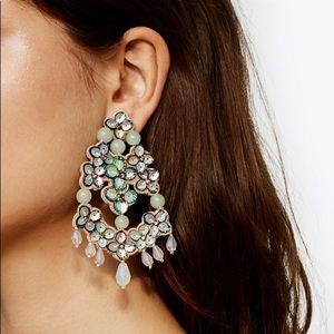 Tory Burch Opalescent Leather Chandelier Earrings